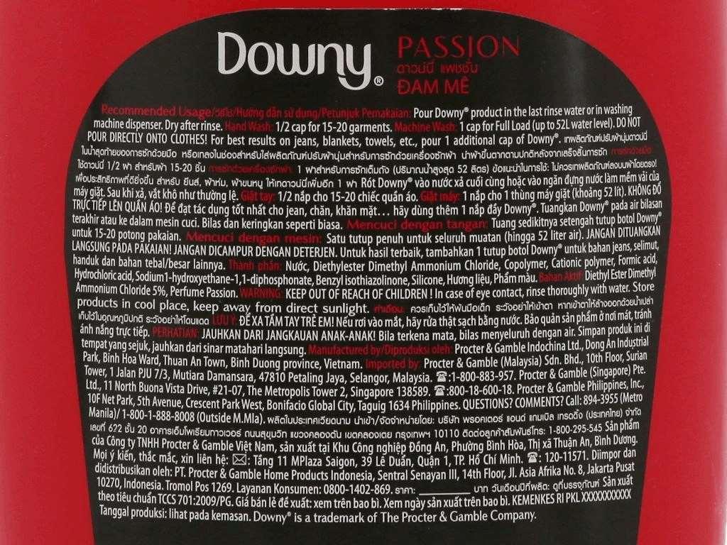 Nước xả vải Downy Parfum Collection đam mê chai 1.8 lít 4