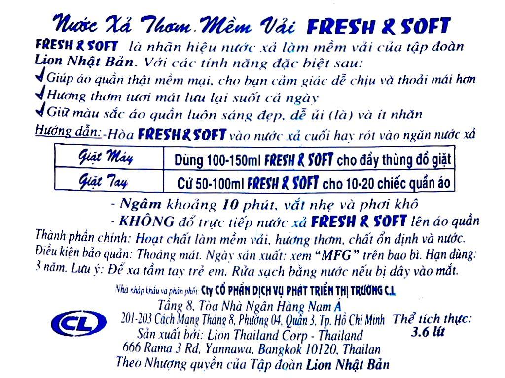 Nước xả vải Fresh & Soft Violet Romance can 3.8 lít 3