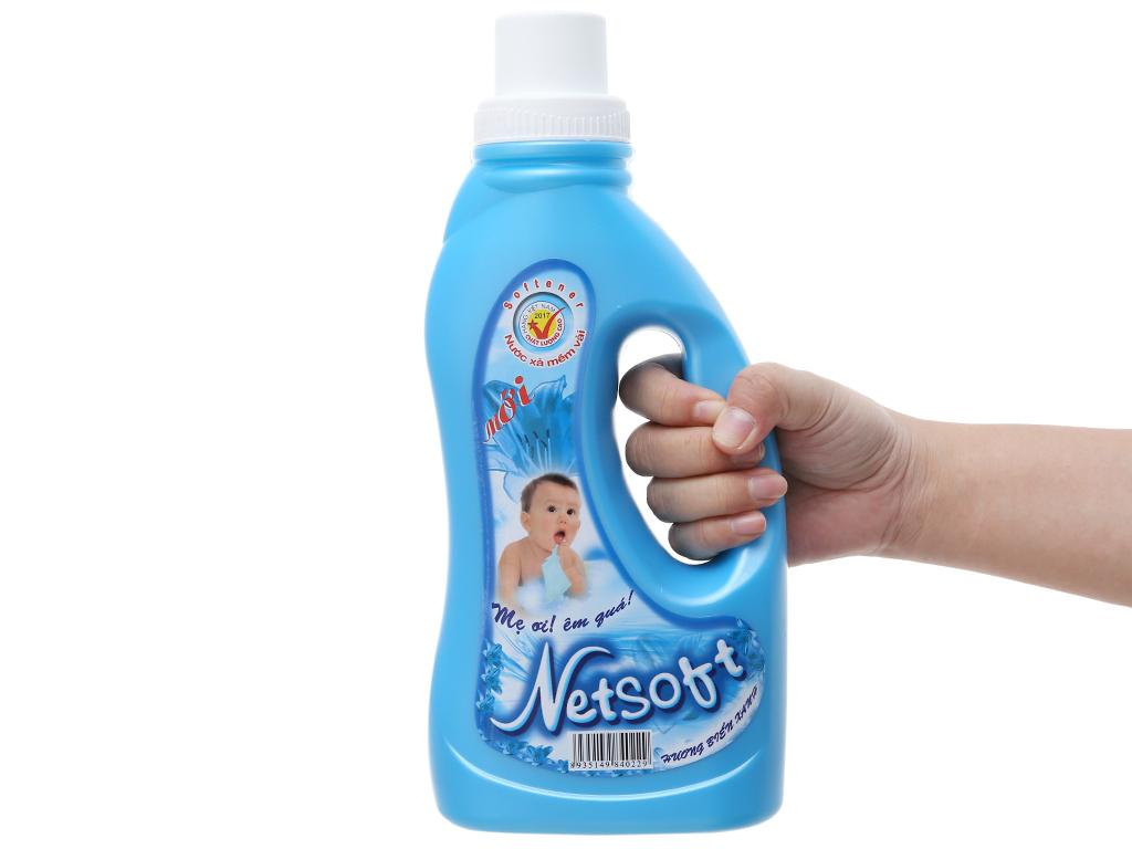 Nước xả vải cho bé Netsoft hương biển xanh chai 1L 4