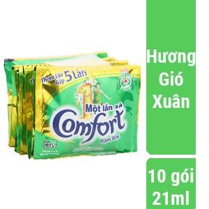 Nước xả vải Comfort Đậm đặc 1 lần xả hương Gió xuân gói 21ml (10 gói)