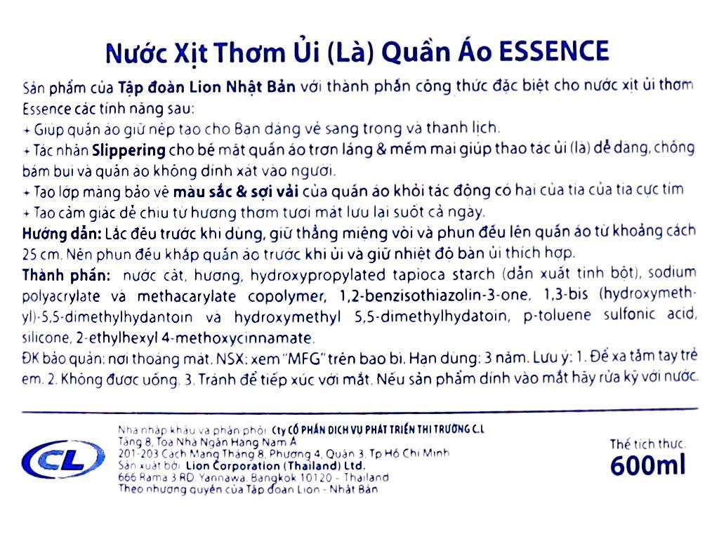 Nước xịt ủi thơm quần áo Essence Floral hương phấn chai 600ml 3