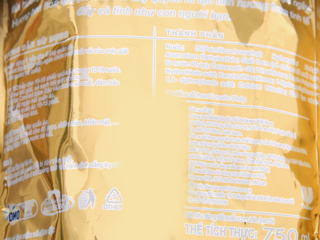 Nước xả vải Comfort nước hoa Sophia túi 750ml 5