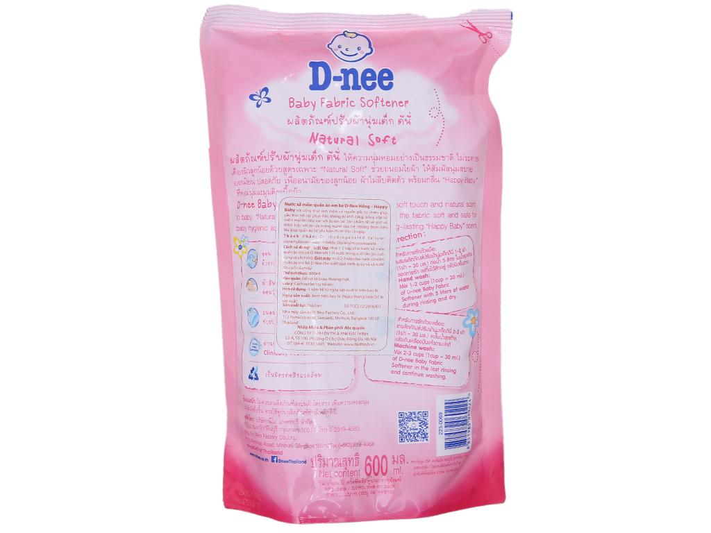 Nước xả vải cho bé D-nee hồng túi 600ml 3