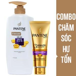 Combo dầu gội Pantene chăm sóc tóc hư tổn 670g và dầu xả Pantene chăm sóc tóc hư tổn toàn diện 180ml
