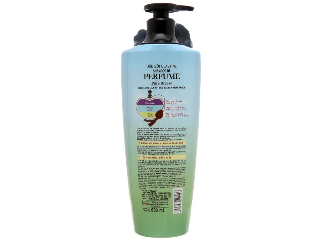 Dầu gội nước hoa Elastine Pure Breeze óng mượt chắc khoẻ 600ml 3