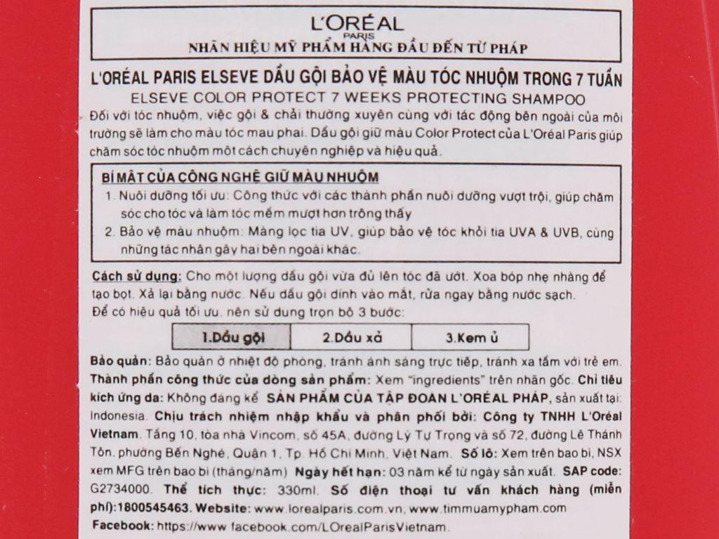 Dầu gội L'Oréal Elseve giữ màu tóc nhuộm 330ml 4