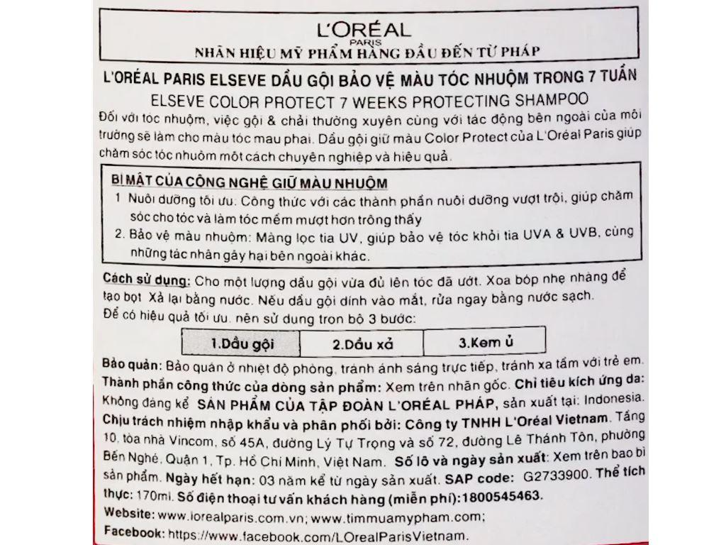 Dầu gội L'Oréal giữ màu tóc nhuộm 170ml 5
