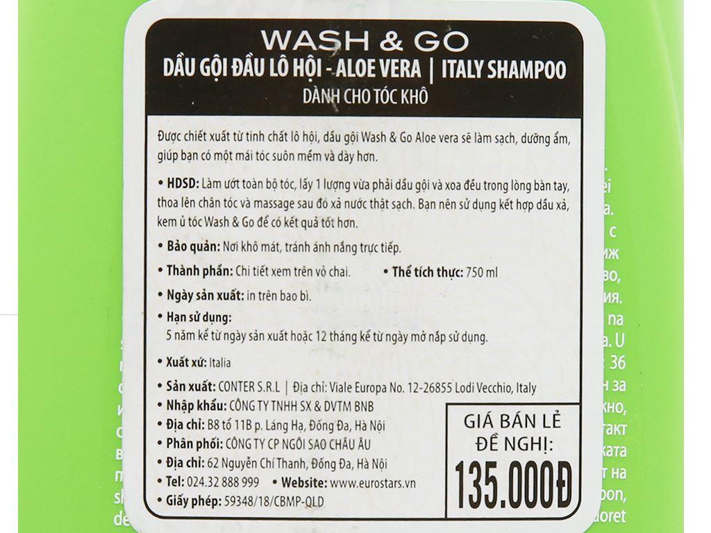 Dầu gội lô hội Wash&Go dành cho tóc khô 750ml 5