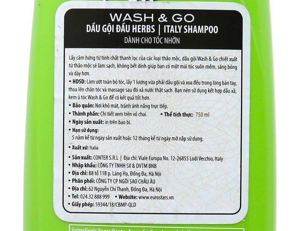 Dầu gội thảo mộc Wash&Go dành cho tóc nhờn 750ml 7