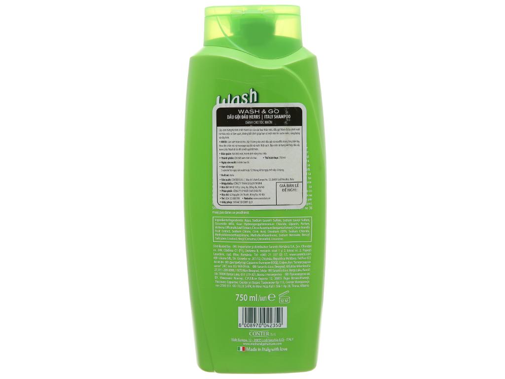 Dầu gội thảo mộc Wash&Go dành cho tóc nhờn 750ml 3