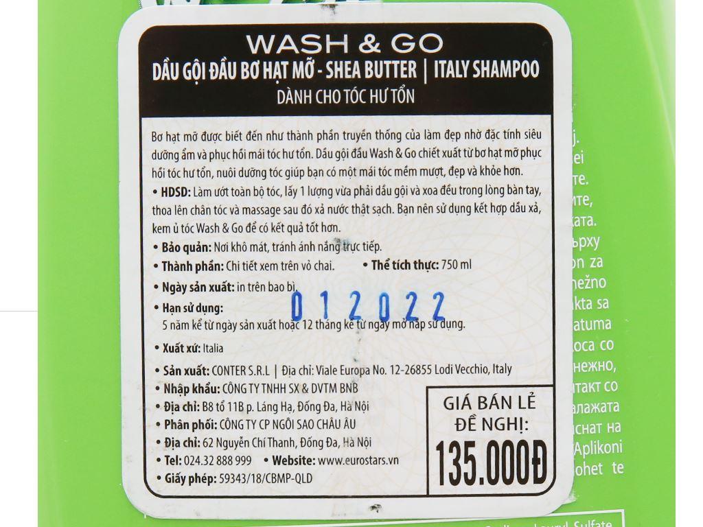 Dầu gội bơ hạt mỡ Wash&Go dành cho tóc hư tổn 750ml 5