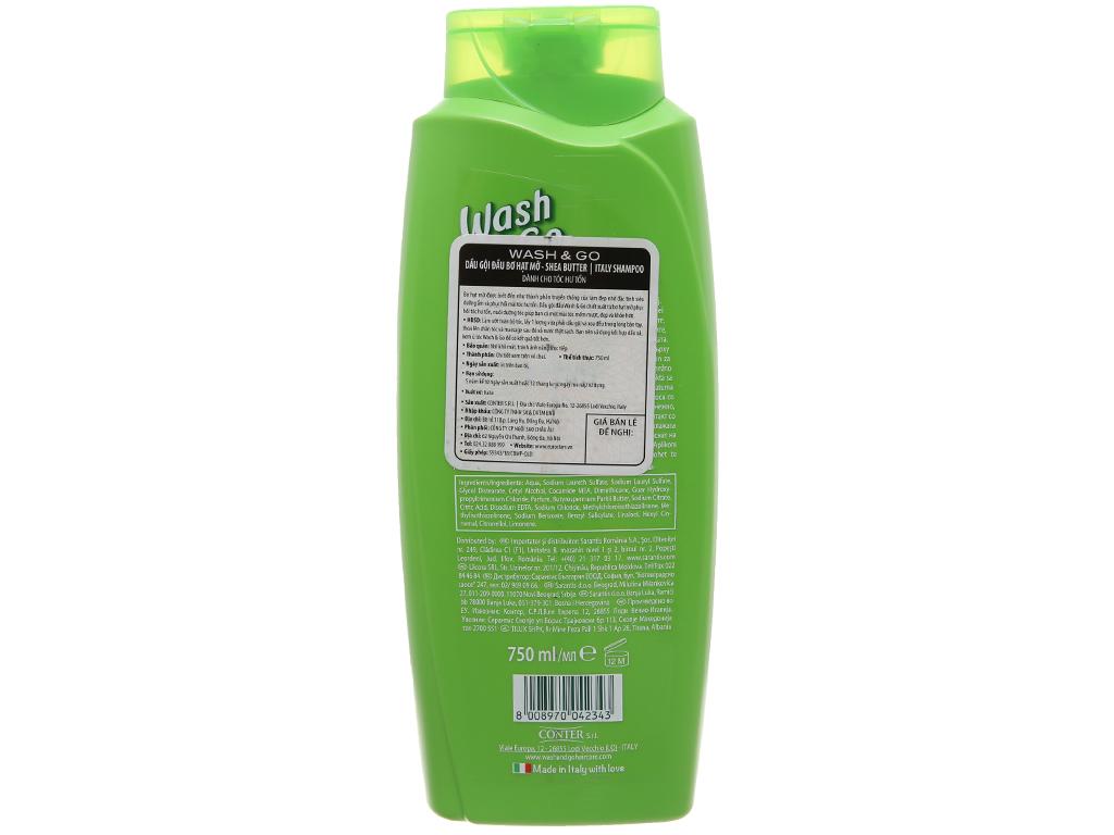 Dầu gội bơ hạt mỡ Wash&Go dành cho tóc hư tổn 750ml 3