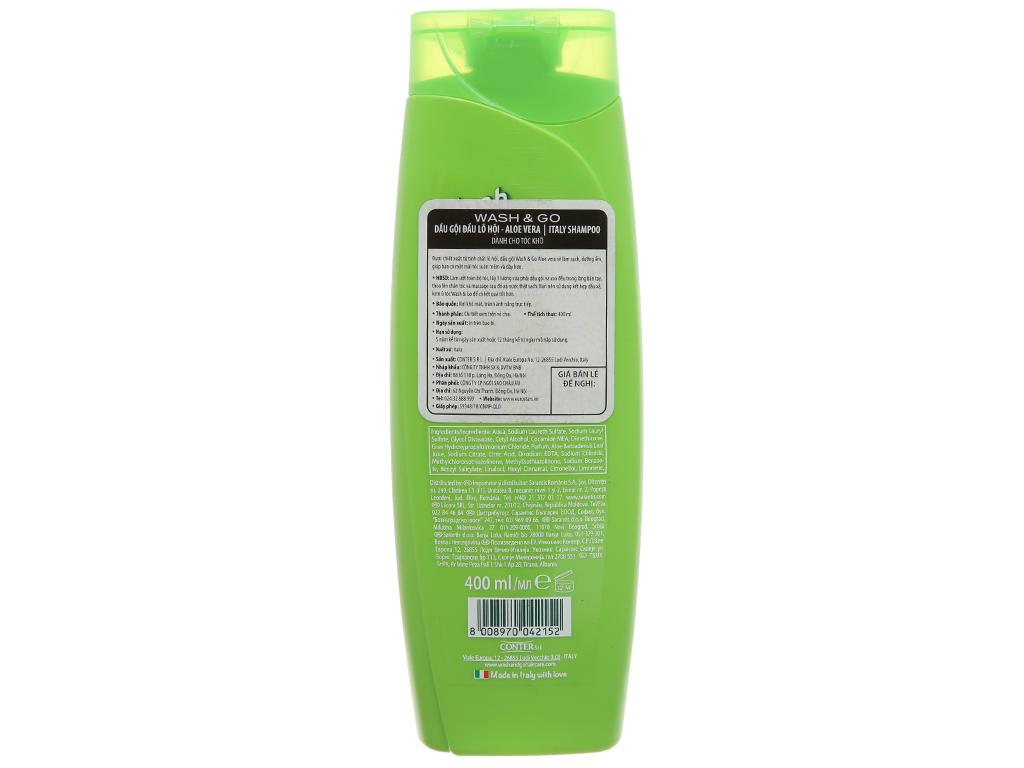 Dầu gội lô hội Wash&Go dành cho tóc khô 400ml 3