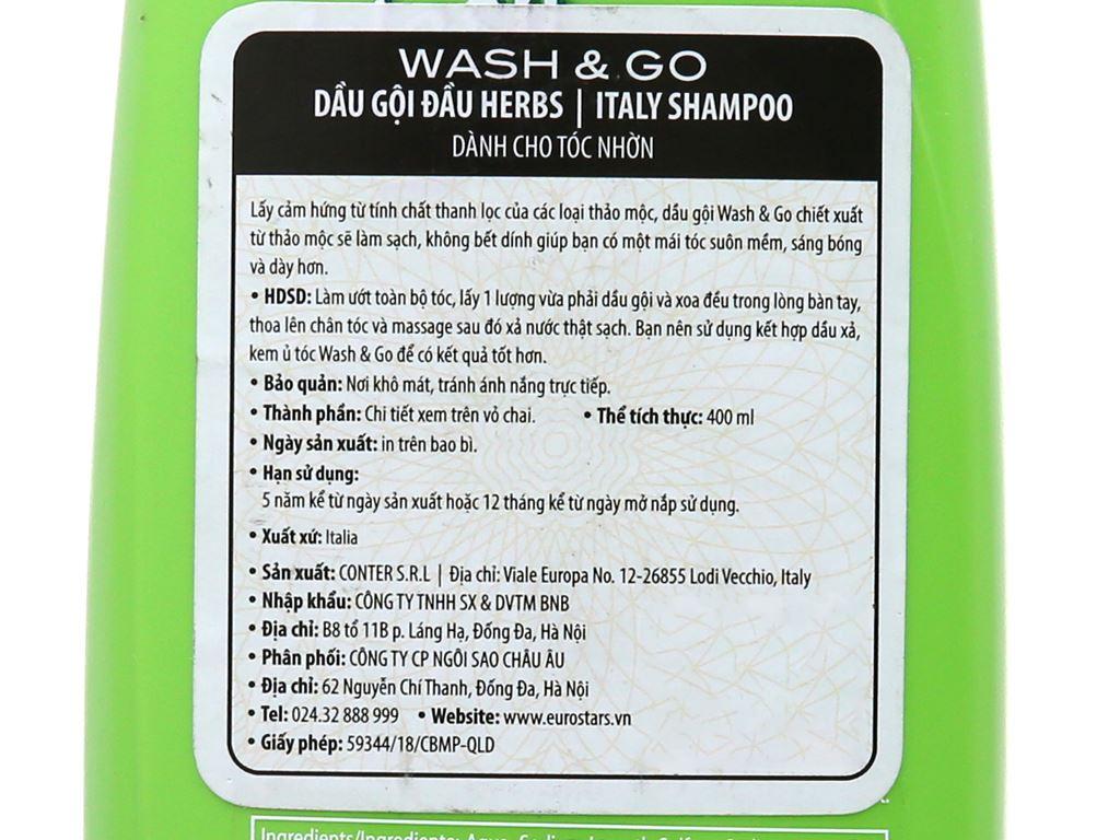 Dầu gội thảo mộc Wash&Go dành cho tóc nhờn 400ml 5