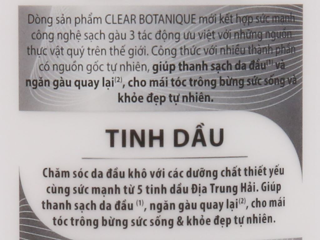 Dầu gội sạch gàu Clear Botanique 5 tinh dầu 175ml 5