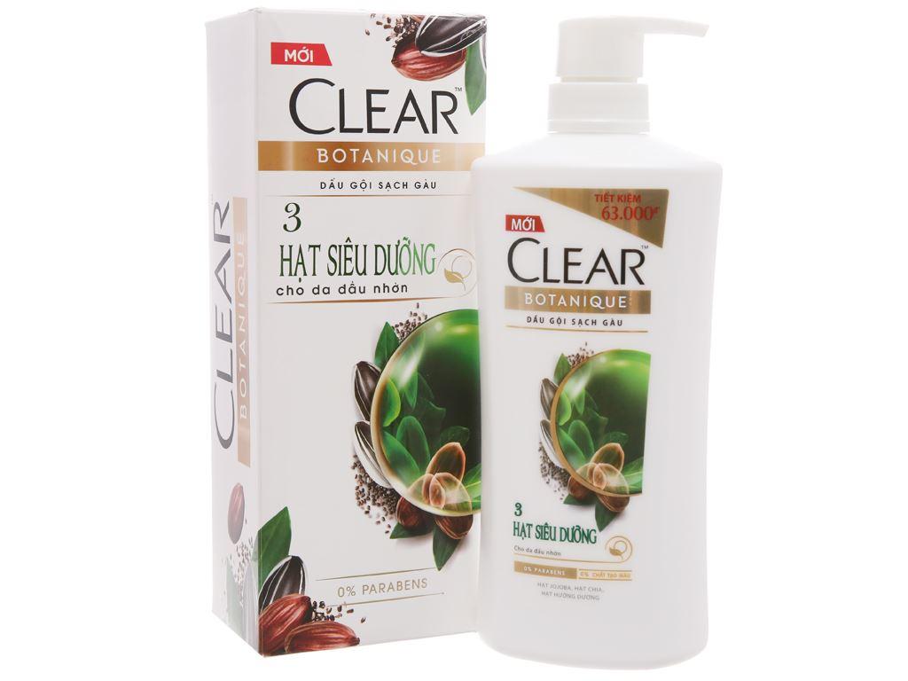 Dầu gội Clear Botanique sạch gàu 3 hạt siêu dưỡng 650g 1