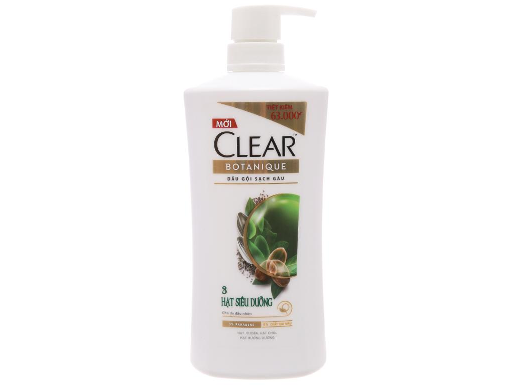 Dầu gội Clear Botanique sạch gàu 3 hạt siêu dưỡng 650g 2