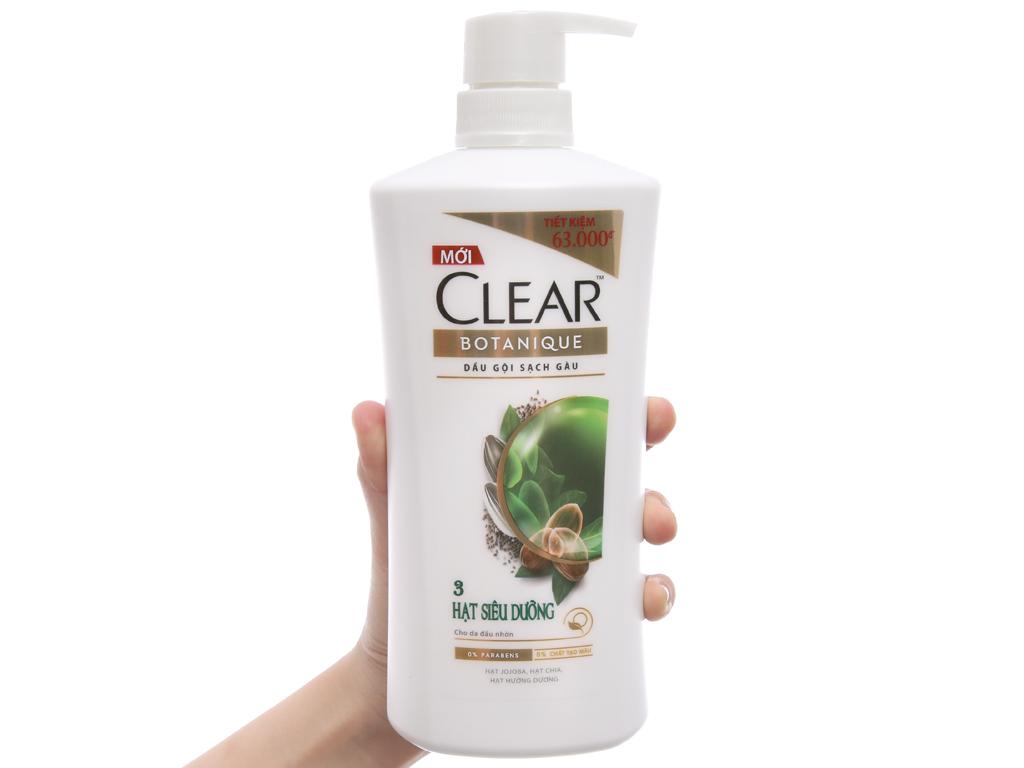 Dầu gội Clear Botanique sạch gàu 3 hạt siêu dưỡng 650g 4