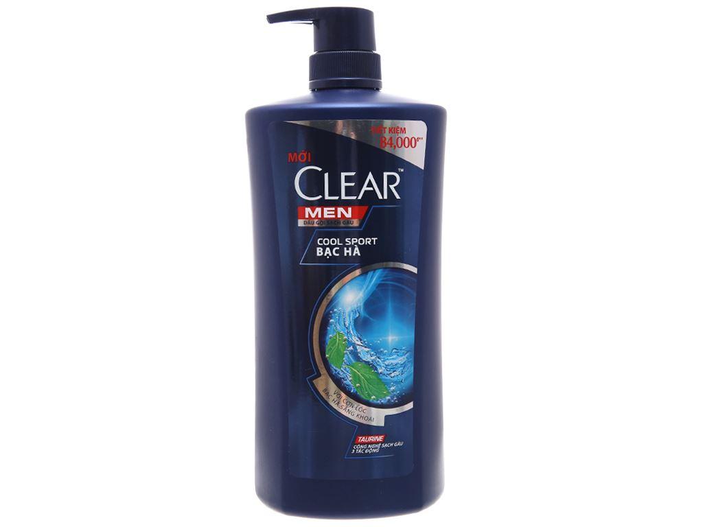 Dầu gội sạch gàu Clear Men Cool Sport bạc hà 874ml 1