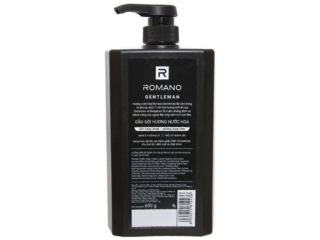 Dầu gội hương nước hoa Romano Gentleman tóc chắc khoẻ 650g 2