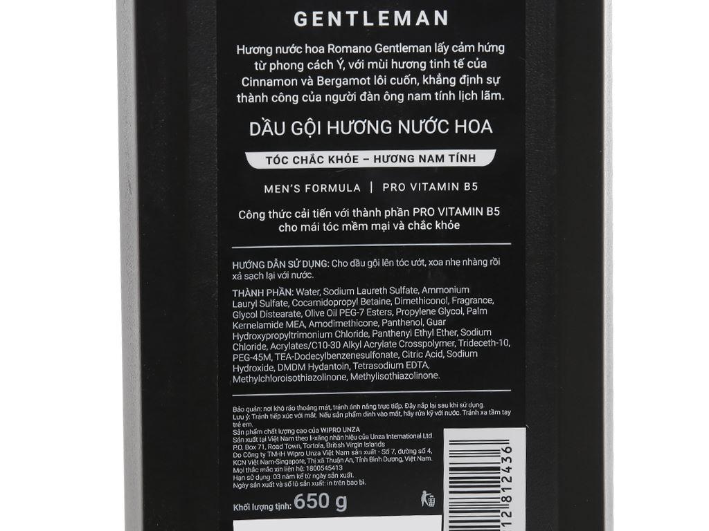 Dầu gội hương nước hoa Romano Gentleman tóc chắc khoẻ 650g 3