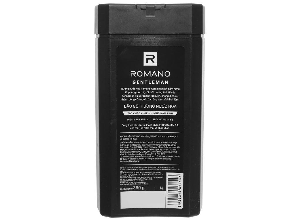 Dầu gội hương nước hoa Romano Gentleman tóc chắc khoẻ 380g 1