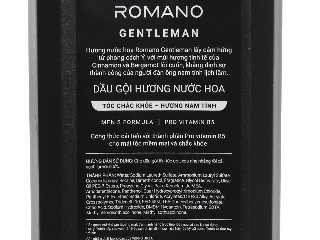 Dầu gội hương nước hoa Romano Gentleman tóc chắc khoẻ 180g 3