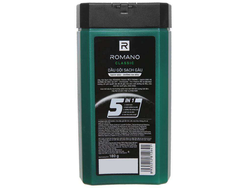 Dầu gội sạch gàu Romano Classic 180g 2