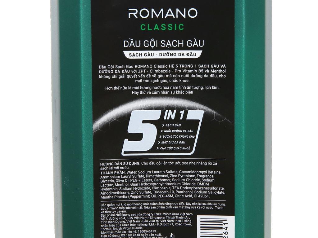 Dầu gội sạch gàu Romano Classic 180g 3