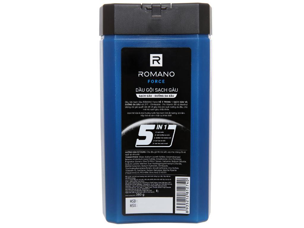 Dầu gội sạch gàu Romano Force 5 in 1 hương nước hoa 380g 2