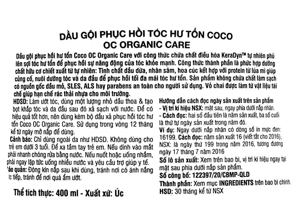 Dầu gội phục hồi hư tổn Organic Care Coco Repair 400ml 3