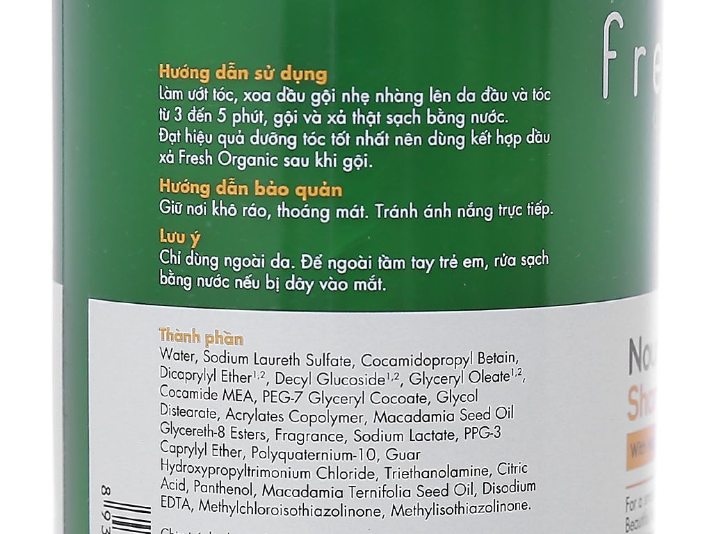 Dầu gội từ hạt Macca Fresh Organic 250g 6