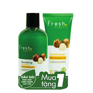 Dầu gội từ hạt Macca Fresh Organic 250g (tặng dầu xả từ hạt Macca Fresh Organic 65g)