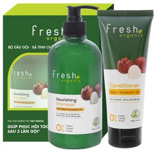 Dầu gội từ hạt Macca Fresh Organic 500g (tặng dầu xả từ hạt Macca Fresh Organic 180g)