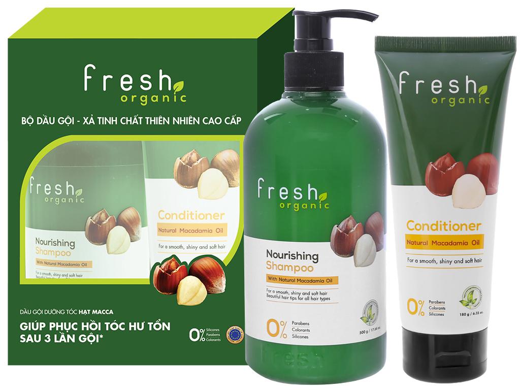 Dầu gội từ hạt Macca Fresh Organic 500g (tặng dầu xả từ hạt Macca Fresh Organic 180g trị giá 49.000đ) 1
