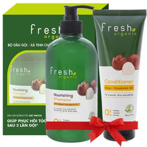 Dầu gội từ hạt Macca Fresh Organic 500g (tặng dầu xả từ hạt Macca Fresh Organic 180g trị giá 49.000đ)