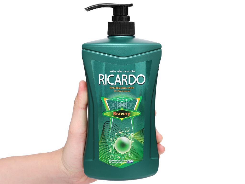 Dầu gội mượt tóc Ricardo Men Bravery tinh dầu thiên nhiên 650g 4