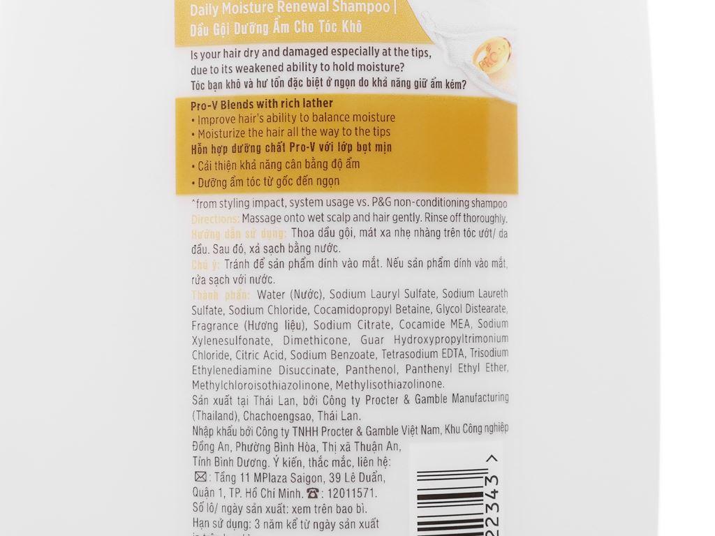 Dầu gội Pantene dưỡng ẩm cho tóc khô 900ml 4