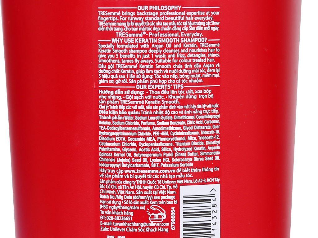 Dầu gội TRESemmé Keratin Smooth tinh dầu Argan 825ml 3