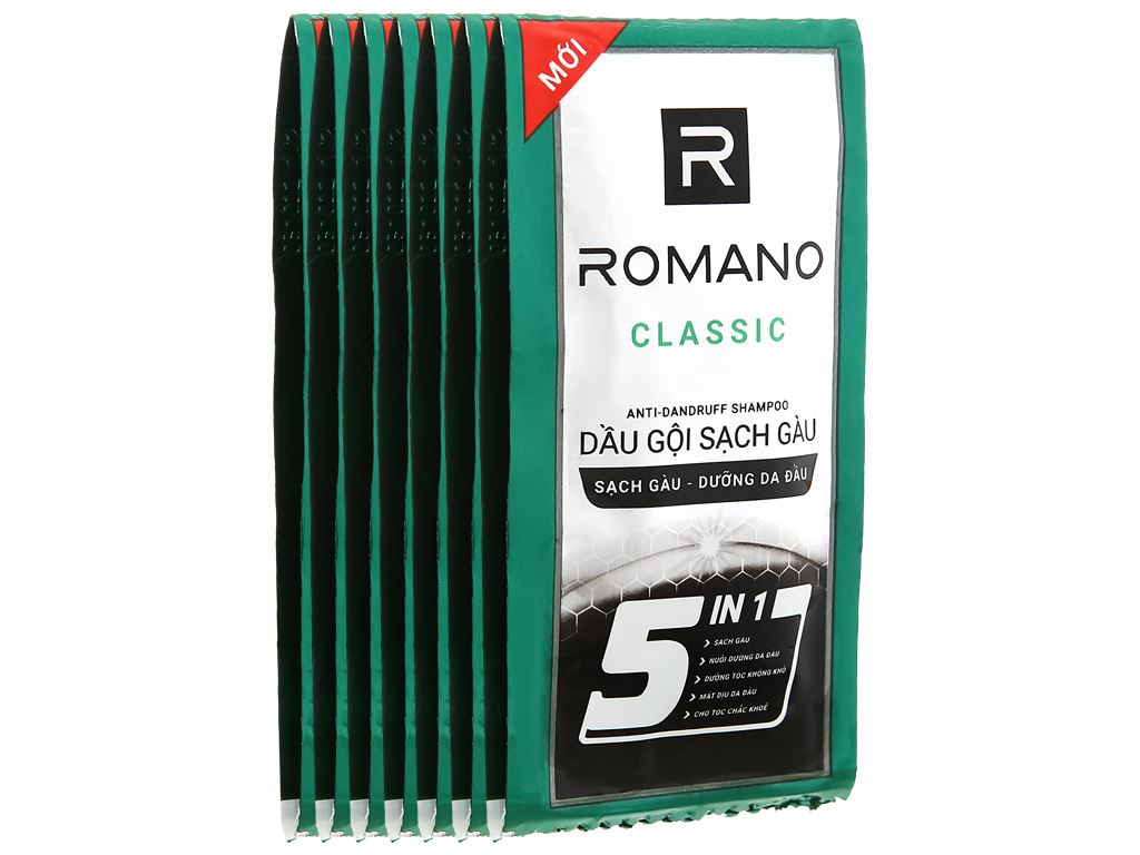 Dầu gội sạch gàu Romano Classic 5g x 10 gói 1