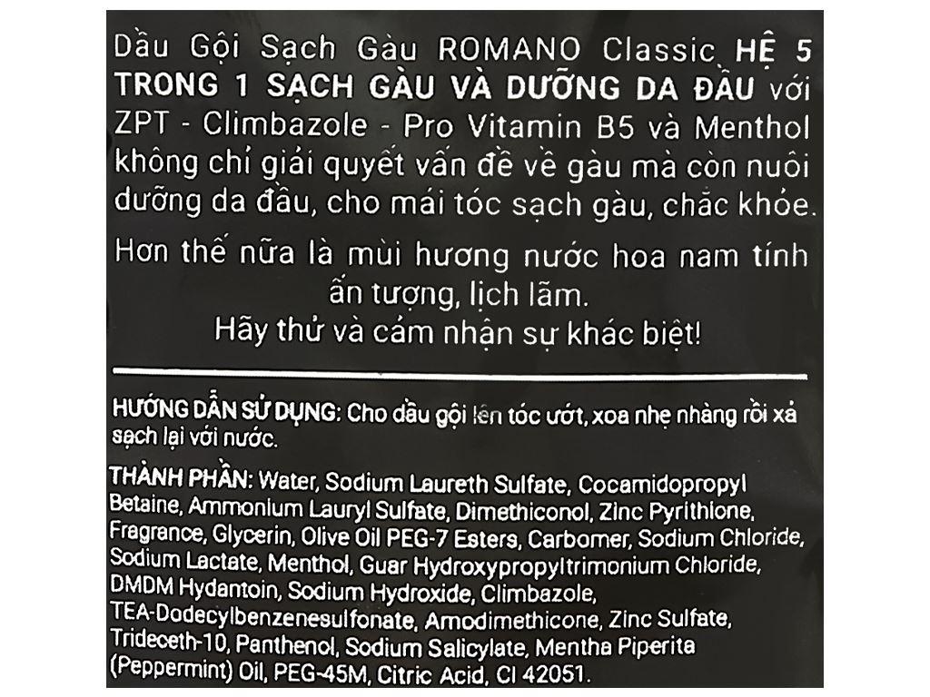 Dầu gội sạch gàu Romano Classic 5g x 10 gói 4