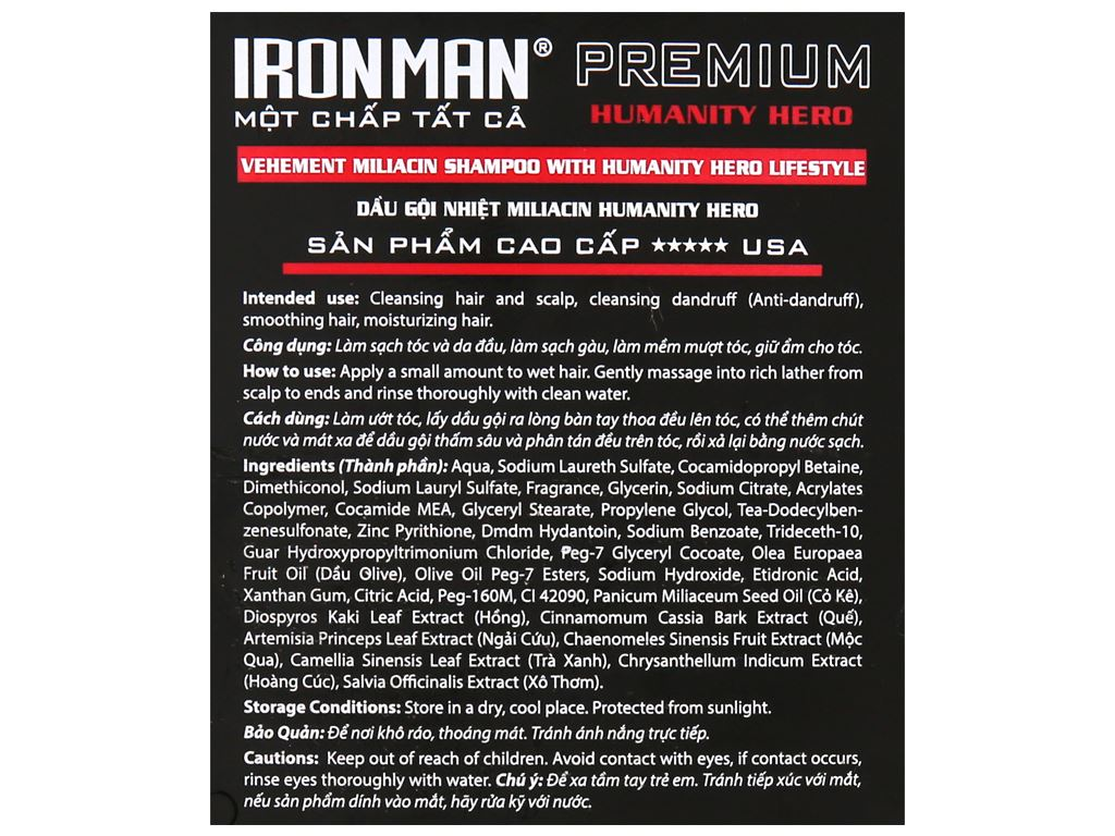 Dầu gội nhiệt sinh học Ironman Premium Humanity Hero 380g 3
