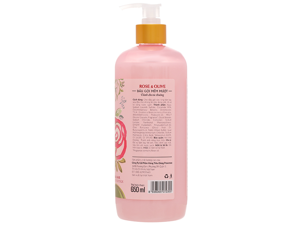 Dầu gội mềm mượt Purité hoa hồng và dầu Olive 650ml 3