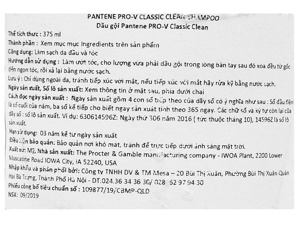 Dầu gội Pantene Pro-V Classic Clean 375ml 3