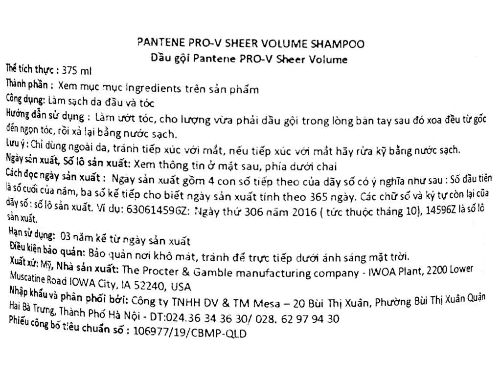 Dầu gội Pantene Pro-V Sheer Volume 375ml 3