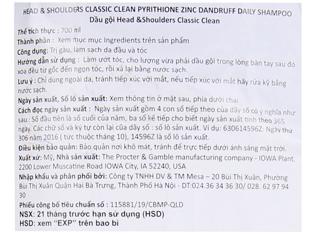Dầu gội Head & Shoulders Classic Clean 700ml 3