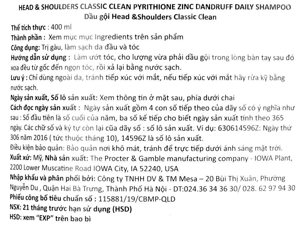 Dầu gội Head & Shoulders Classic Clean 400ml 3