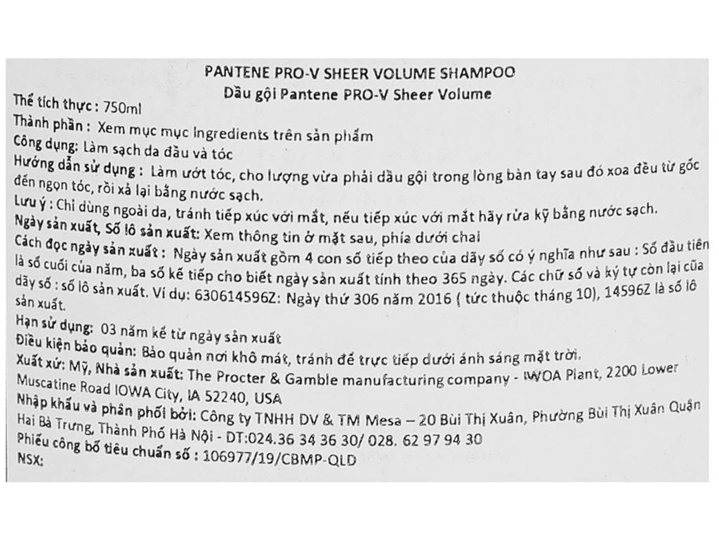 Dầu gội Pantene Pro-V Sheer Volume 750ml 3