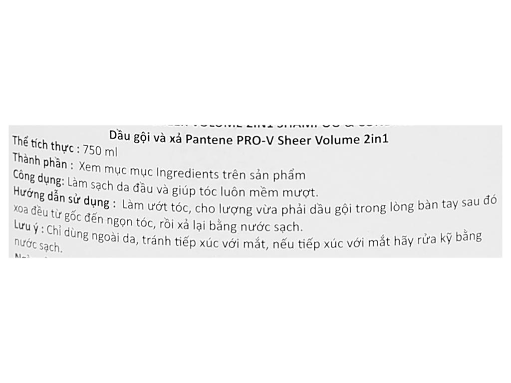 Dầu gội và xả 2in1 Pantene Pro-V Sheer Volume 750ml 3