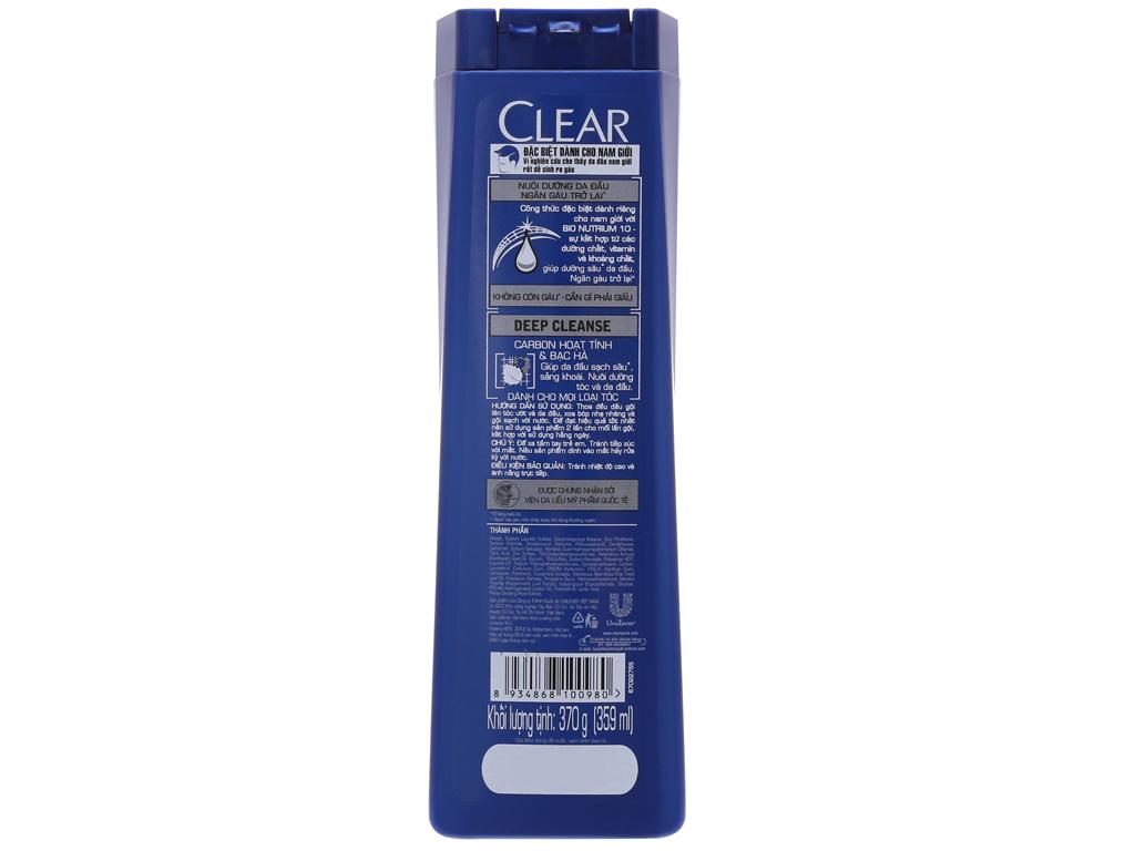 Dầu gội sạch gàu Clear Men Deep Cleanse Carbon hoạt tính 359ml 3